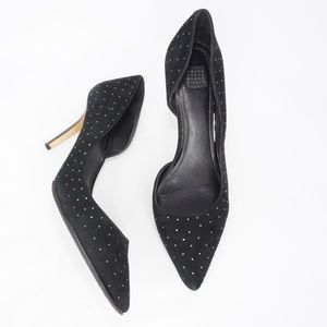 WHBM Black Suede Pointed Toe D'Orsay Pumps, 9.5